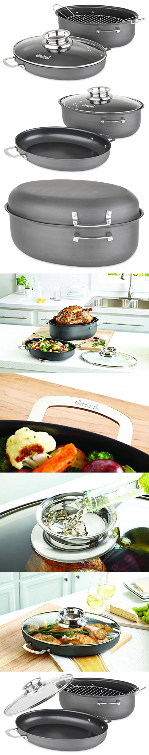 Allrecipes Hard Anodized Nonstick 3 In 1 Oval Roaster With Au Gratin And Aroma Lids 8 5 Quart 4 Piece Au Gratin Gratin Allrecipes