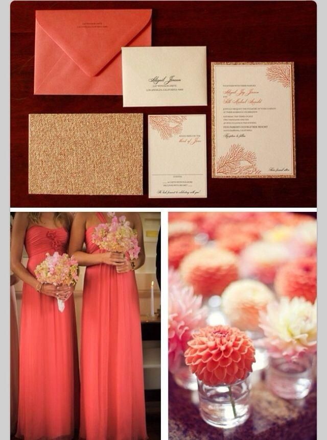 see more about coral wedding colors, coral weddings and coral gold, Wedding invitations