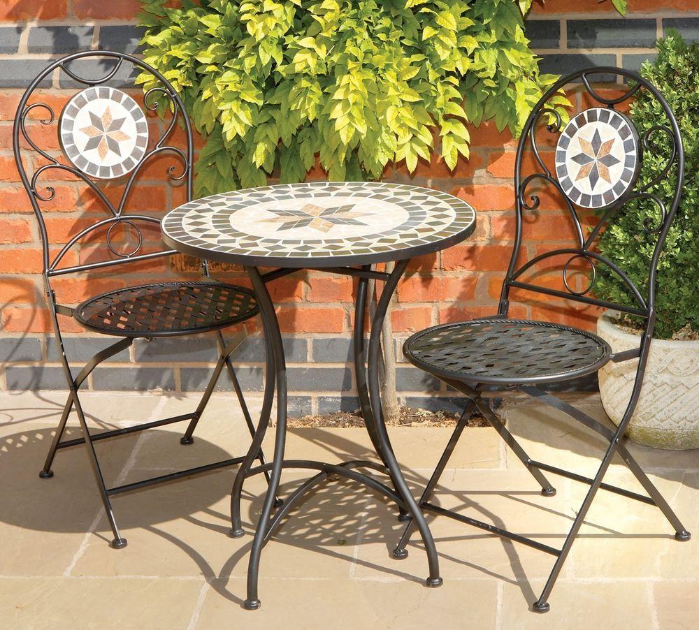 Garden Bistro Set Chairs Table Mosaic Black Metal Ceramic Stone