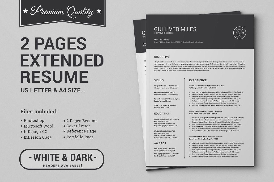 2 Pages Resume CV Extended Pack Resume cv, Resume, Words