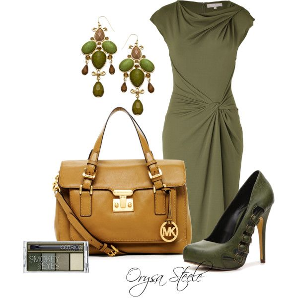 """Olive Knot Dress"" by orysa on Polyvore I need to be a rich person STAT. Michael Korrs you kills me with your 633 dollar dress. I need to become a fashionista on a budget dude. I am not a fan of the shoes but everything else yes please."