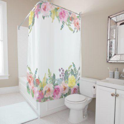 Elegant Shabby Chic Spring Floral Shower Curtain