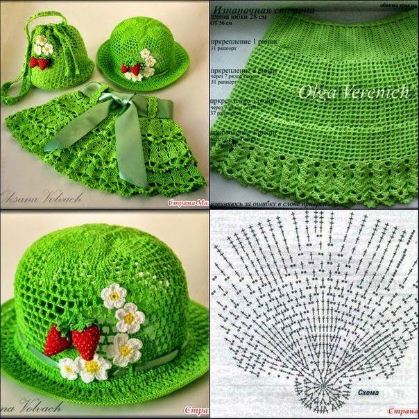 Todo crochet: Conjunto de niña: pollera, sombrero y bolsito - con ...
