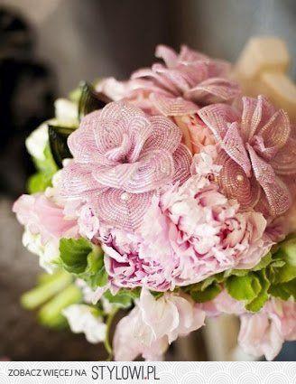 Bukiet Slubny Kwiatowy Beaded Flowers French Beaded Flowers Beaded Bouquet