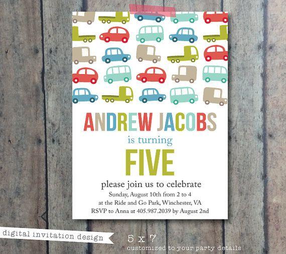 birthday invitation boy birthday party truck and car theme invitation boys party invite