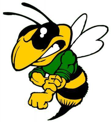 Mad Hornet Mascot School Spirit Hornet Stencil Art Sports Logo