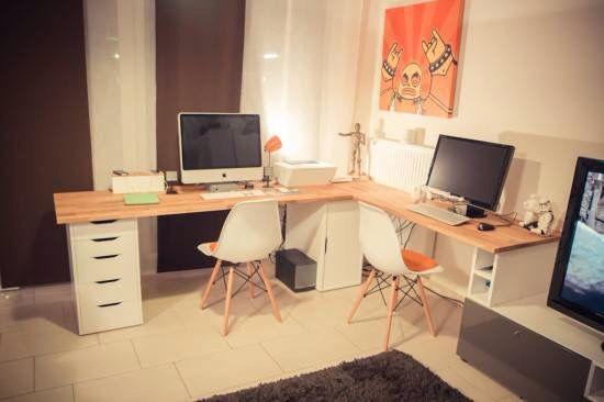 Ikea hacker bureau double home office ikea office