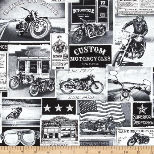 Motorbike-Era-Vintage-News-Motorcycles-Cotton-Quilting-Fabric-1-2 ... : motorcycle quilting fabric - Adamdwight.com