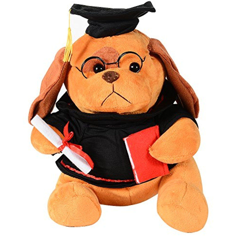 Emorefun joe 8 inch graduation plush dog toy with cap and