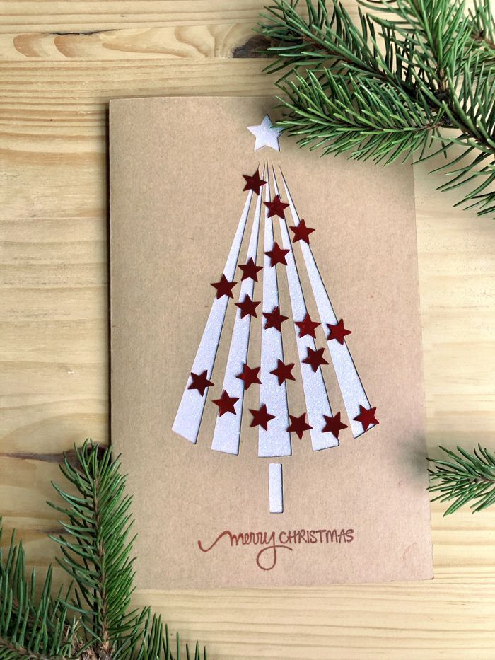 Easy Christmas Tree Card #christmascardskids Free Christmas Greeting Card Tutorial - Easy Paper Crafts #sunflowerchristmastree