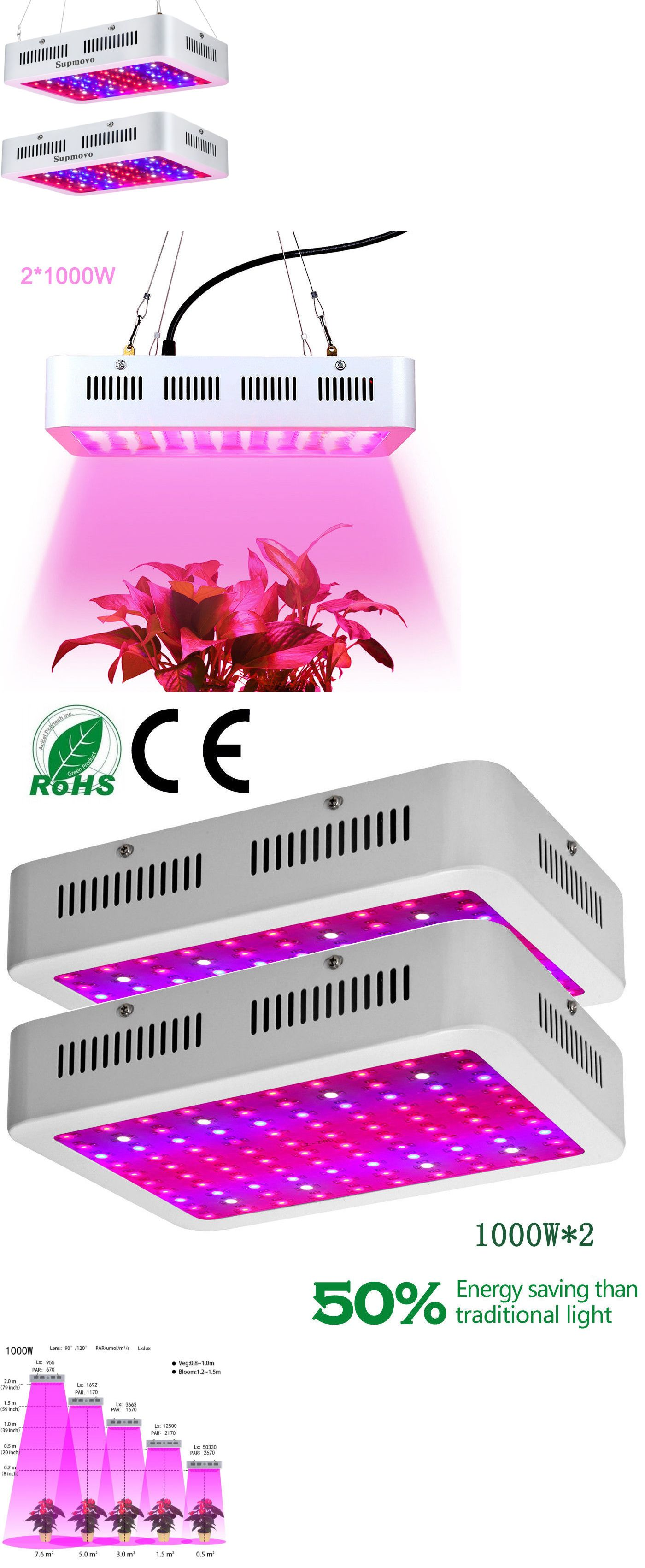 2pcs 1200w Led Grow Light Full Spectrum Panel Lamp For Indoor Hydroponic Plants Led Grow Lights Grow Lights Hydroponic Plants