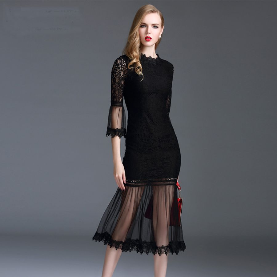 >> Click to Buy << Sexy Dress New 2017 Summer High Street Women Elegant Flare Sleeve Lace Patchwork Slim Black / Pink Trumpet Dresses #Affiliate