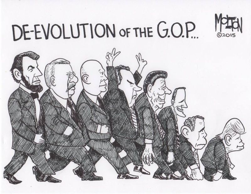 Image result for cartoon on devolution of republican party