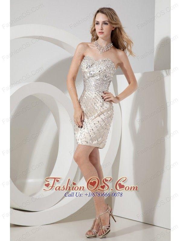 Champagne Column / Sheath Sweetheart Beading Short Prom Dress Mini ...