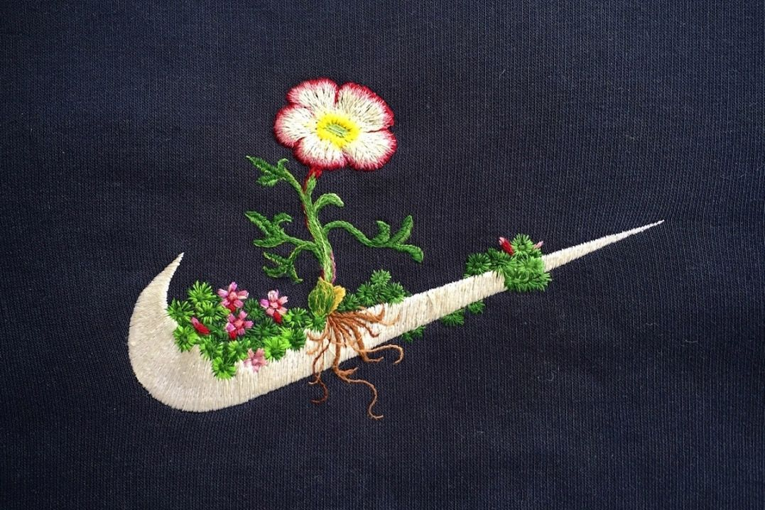 Artist James Merry Gives Brand Logos a Floral Embroidery Makeover | HUH.