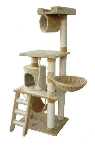 kitty condo tower with cat hammock tube and six scratching posts beige plush   kitty condo tower with cat hammock tube and six scratching posts      rh   pinterest
