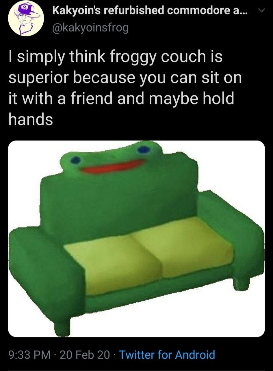 Animal Crossing Froggy Chair Meme In 2020 Animal Crossing Memes