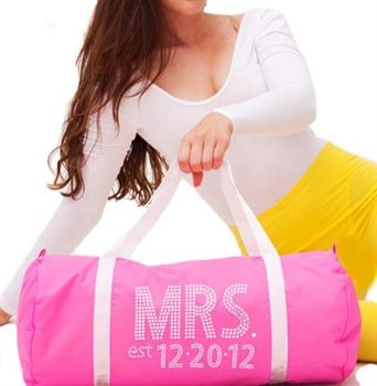 The perfect Bachelorette Party or Bridal Shower Gift, this Mrs & Wedding Date Custom Rhinestone Duffle bag is both adorable and practical!  Personalize this tote with the Brides new last name! SALE $27.99 at www.TheHouseofBachelorette.com -The Ultimate Bachelorette Party Supplies Store