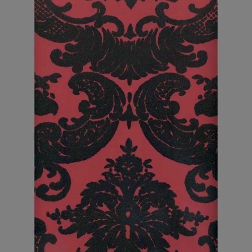 Black Velvet Madison Damask On Peanut Red Flock Wallpaper Velvet Wallpaper Wallcovering Design