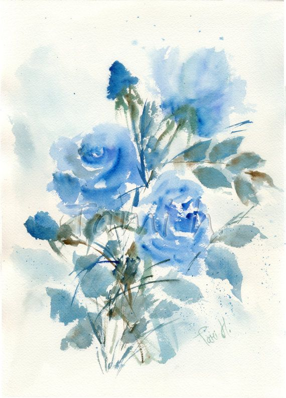 Original Watercolor Painting Of Blue Roses By Tami Hezroni