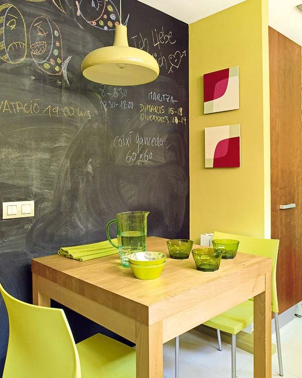 yellow kitchen + chalkboard wall