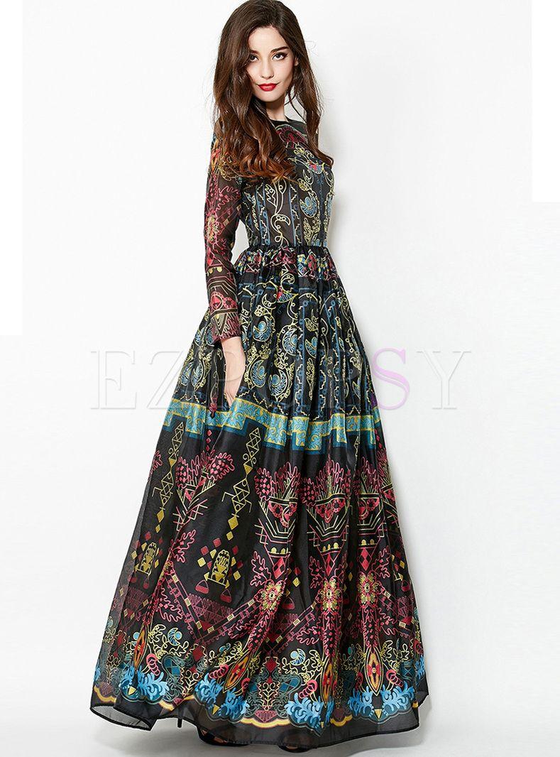 Crew Neck Long Sleeve Print Beach Maxi Dress Elegant Dresses Long Vintage Summer Dresses Maxi Dress [ 1066 x 789 Pixel ]
