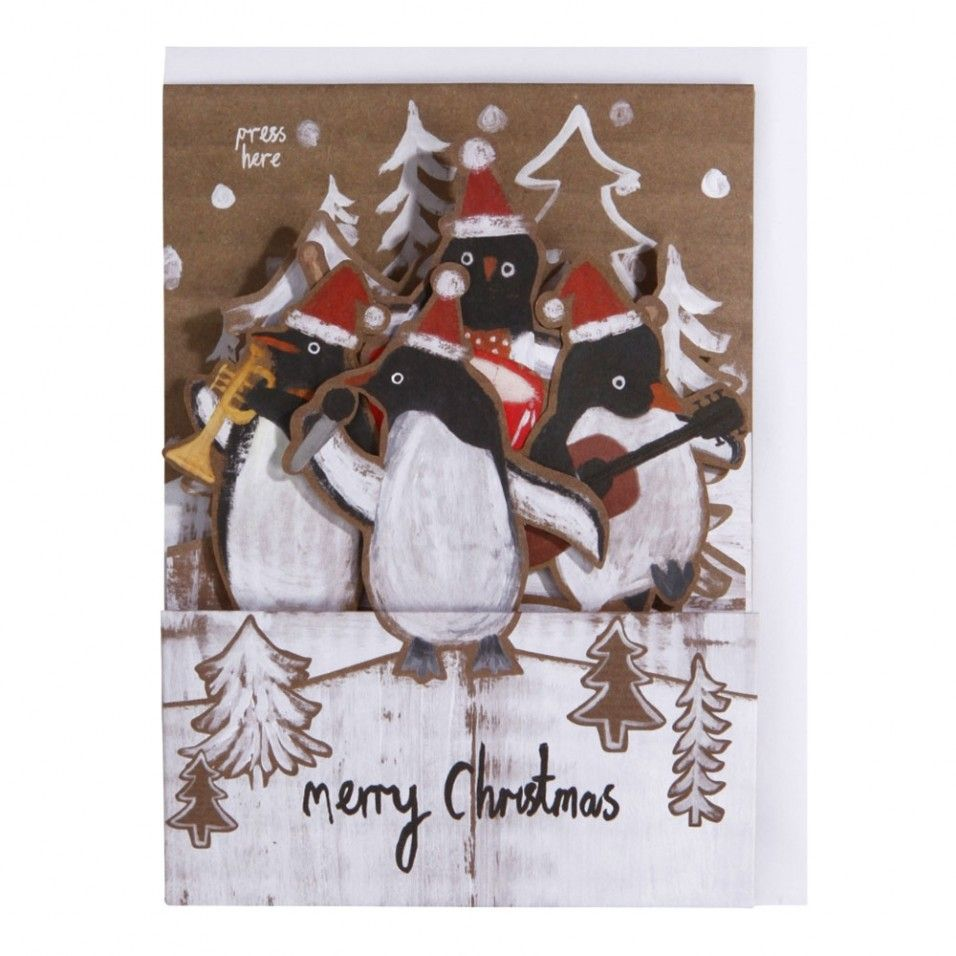 Penguin band pop-up musical Christmas card - Christmas Single Cards ...