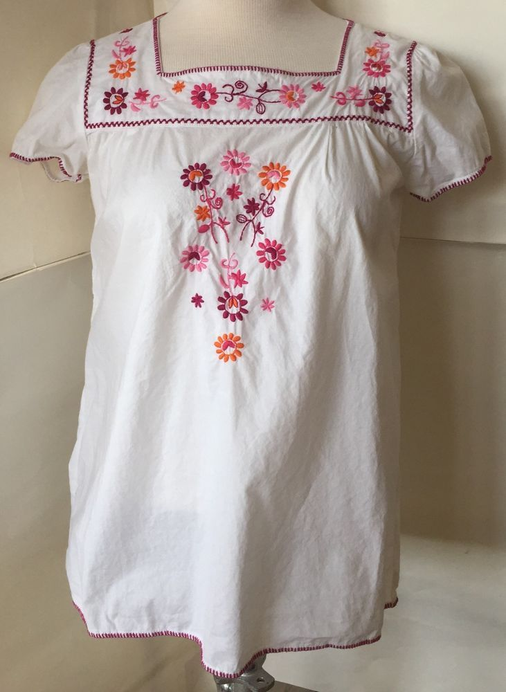 Mexican Style Floral Embroidered Babydoll Shirt Blouse Women's Small Girls 14  #LOGG #Everyday