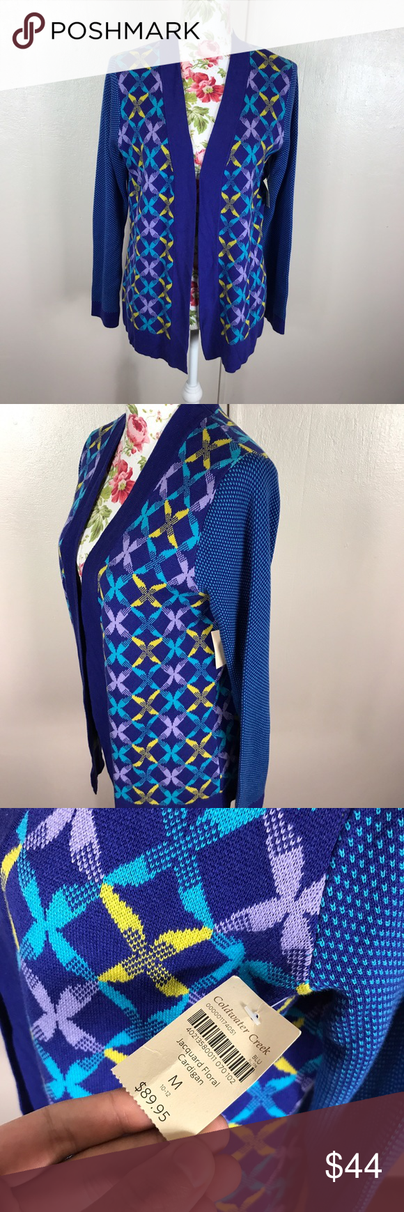 Open floral cardigan Coldwater creek medium New with tags. Coldwater creek open jaquard floral cardigan. Multicolored. 60% cotton 40% rayon Coldwater Creek Sweaters Cardigans