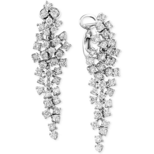 Classique By Effy Diamond Cluster Chandelier Earrings (2-5/8 ct. t.w.)... (38.525 NOK) ❤ liked on Polyvore featuring jewelry, earrings, accessories, white gold, 14k jewelry, 14k earrings, white gold earrings, 14k white gold earrings and graduation jewelry