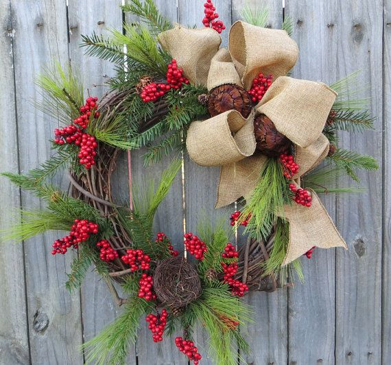 Wreath, Winter and Christmas Wreath, Natural Elegance Christmas