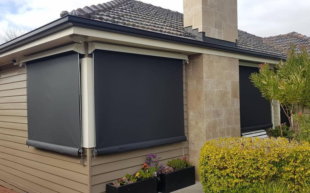 Outdoor Blinds Are Cool And How Neat Do These Straight Guide Awnings Look Made In Melbourne In Mesh Outdoor Fabric Call 98802500 Fo In 2019 Modern Blinds Outdoor Blinds Blinds