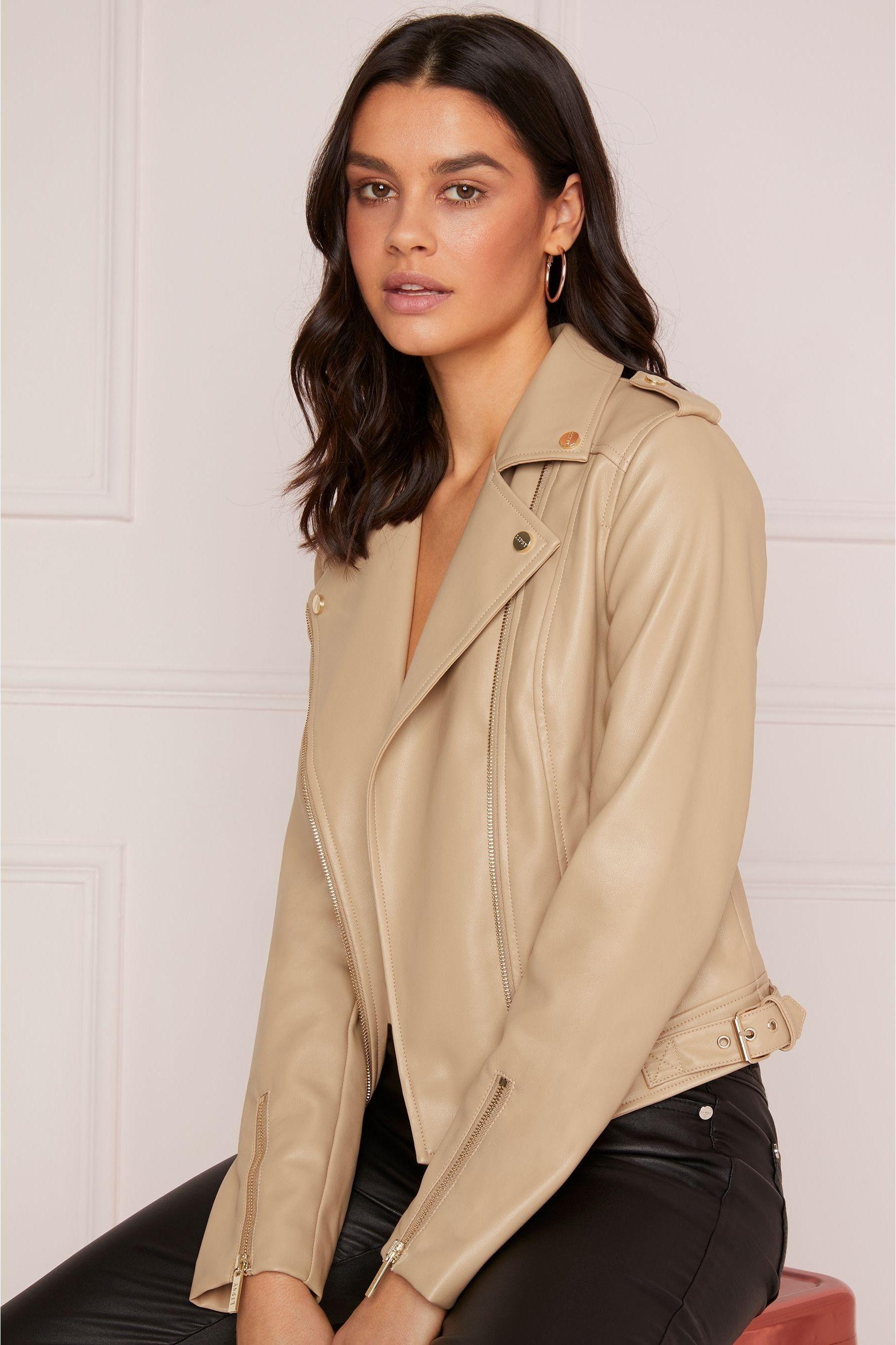 2a97d79b0b74 Womens Abbey Clancy x Lipsy Faux Leather Biker Jacket - Black in ...