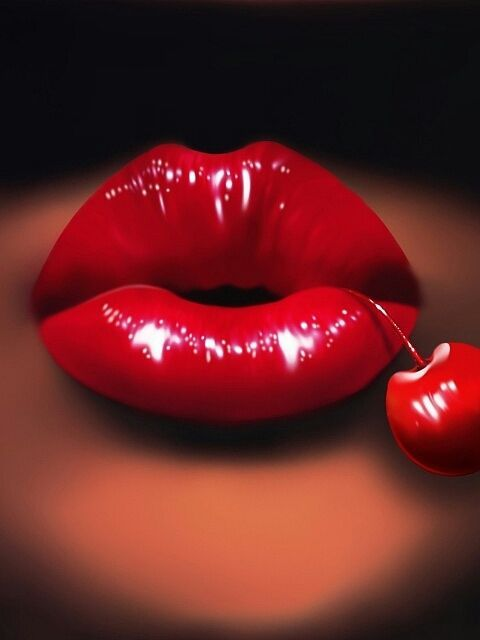 Cherry Red Lipstick Red Lips Beautiful Lips Hot Lips