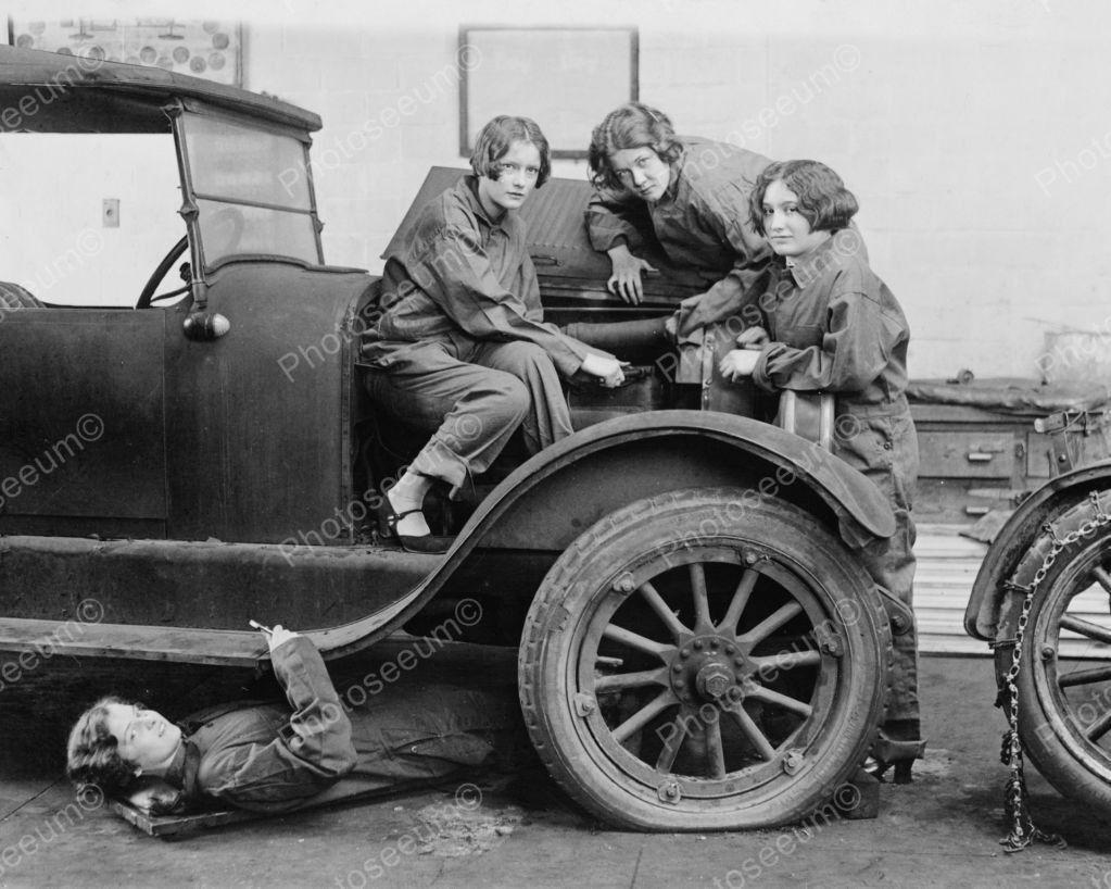 Female Car Mechanics Vintage 8x10 Reprint Of Old Photo