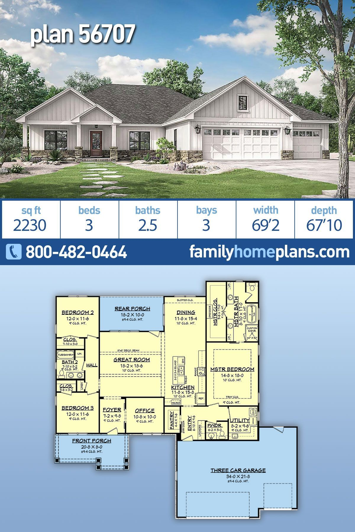 This Is A New House Plan By One Of Our Most Popular Home Designers With 2230 Sq Ft Of Heated Livin Ranch House Plans Ranch Style Homes Ranch Style House Plans