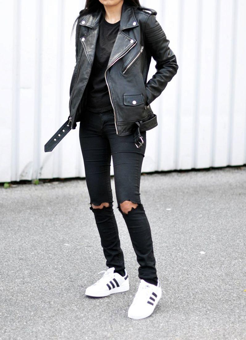 pinterest 25 fa ons de porter le jean noir style pinterest jeans noirs veste en cuir et. Black Bedroom Furniture Sets. Home Design Ideas