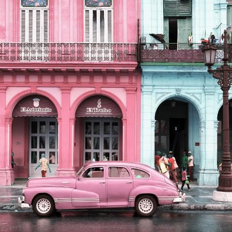 Photographic Print: Cuba Fuerte Collection SQ – Colorful Architecture and Pink Classic Car by Philippe Hugonnard : 16x16in