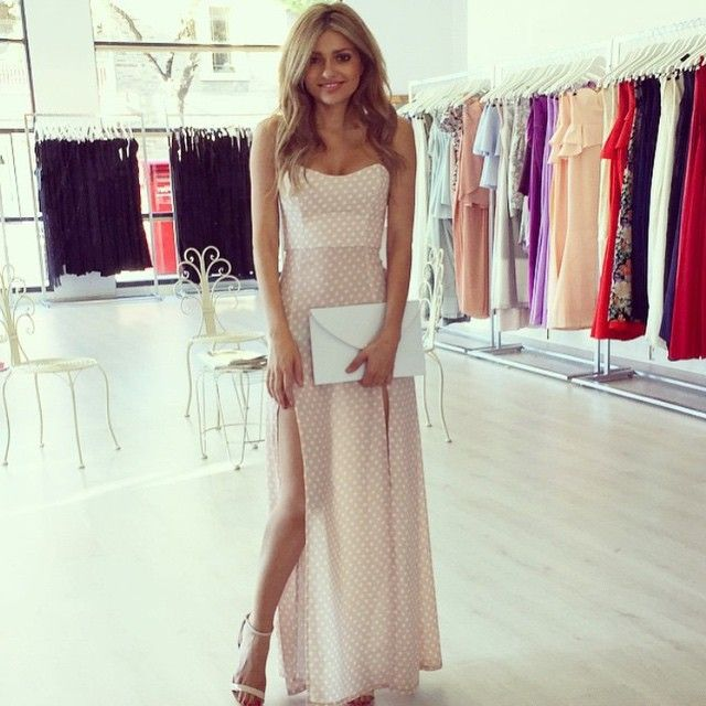 Nookie Nude & White Polka Dot Maxi $75 to hire in sizes 6 (pictured) and 12! Shoes are $89 to buy and clutch is $24 xx