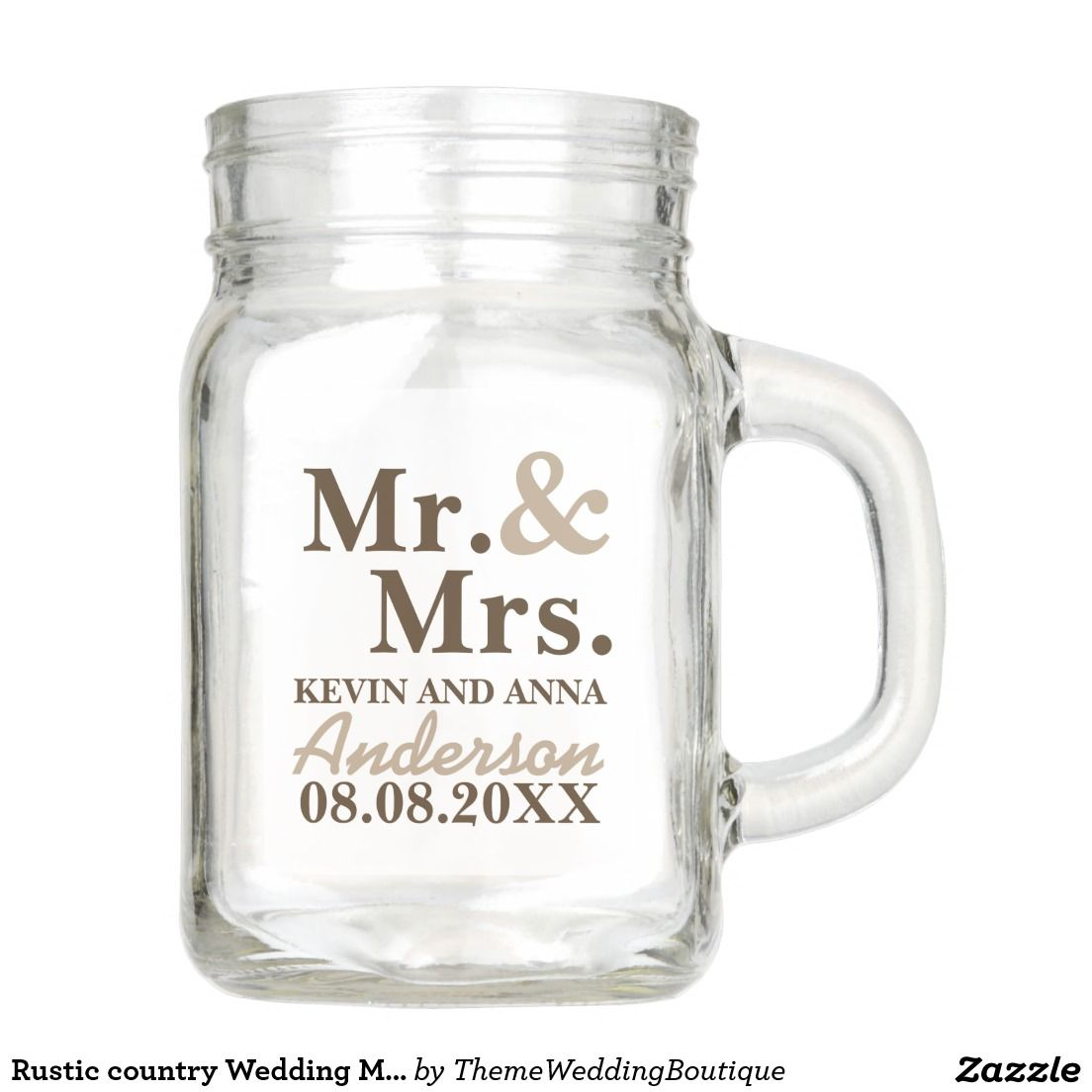 Rustic country Wedding Mr and Mrs Mason Jar | Favors, Wedding and ...