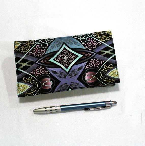 Duplicate Checkbook Cover Register with Pen Holder Kaleidoscope in Violet