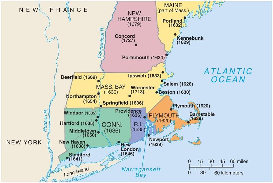 new england map usa | 1620 new england puritan map 1858 map of ...