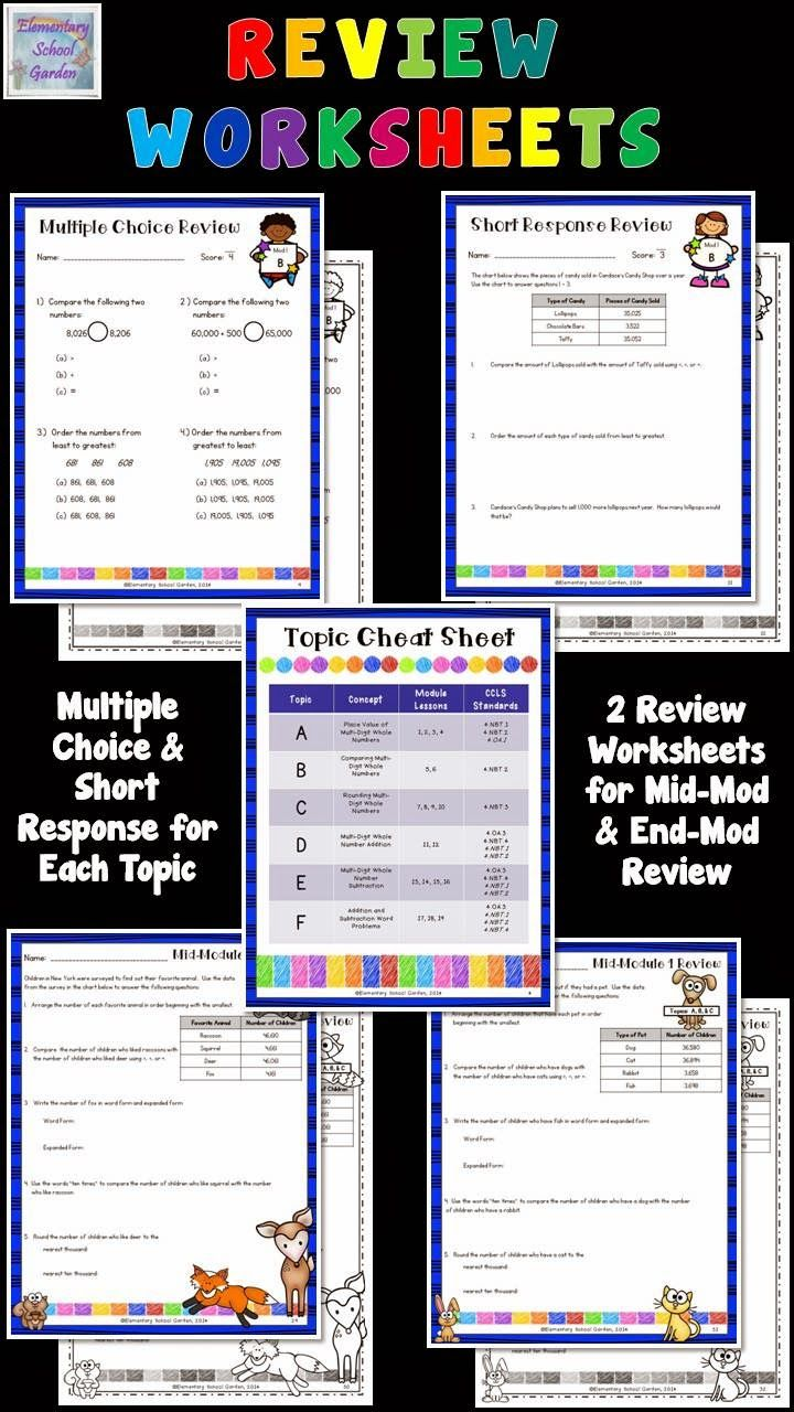Review worksheets for Engage NY Math Module Assessments - 4th Grade ...