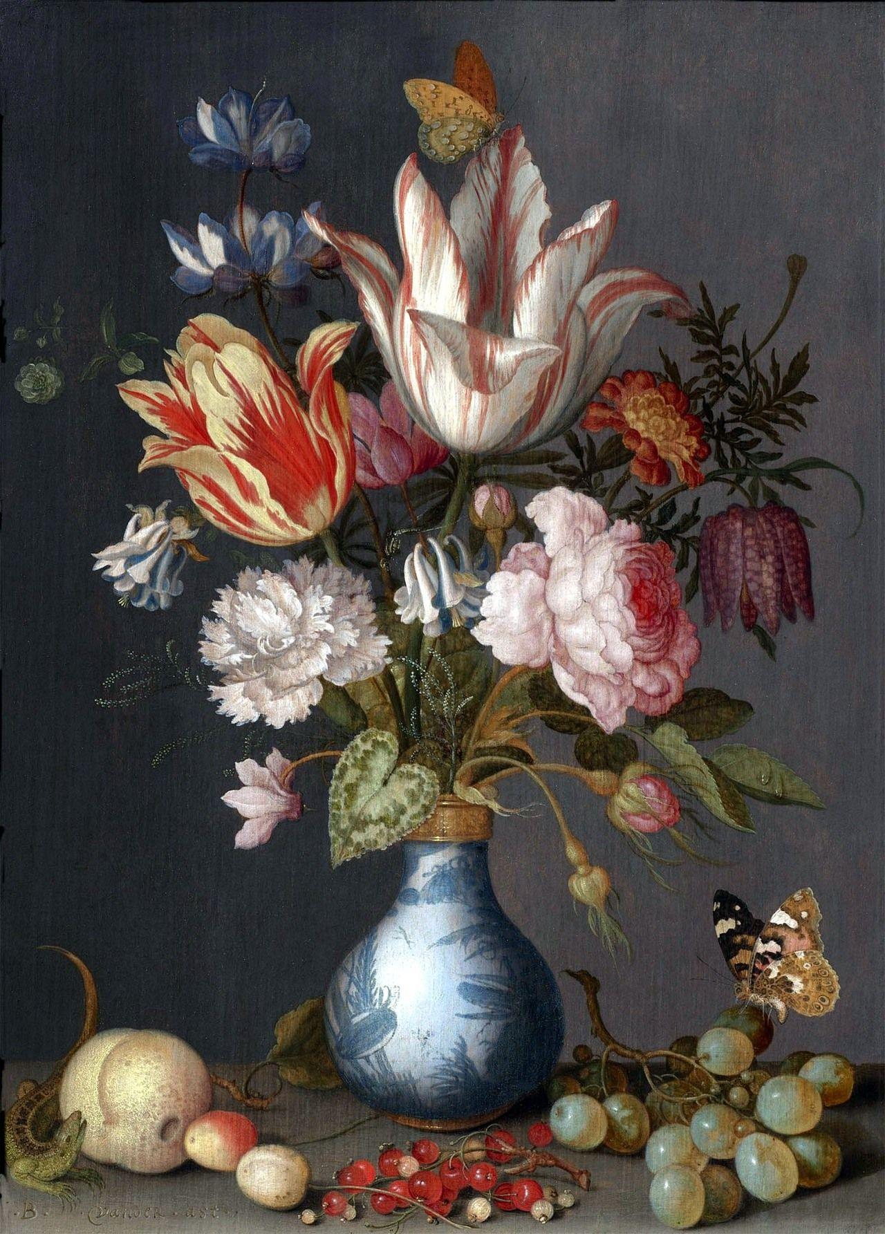 Flowers in a blue white gilt vase undated balthasar van