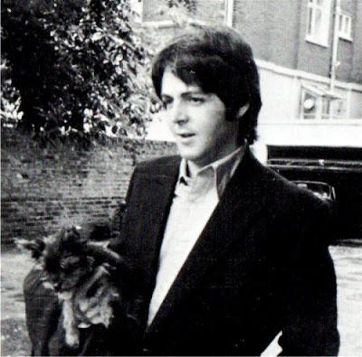 Paul carriea little Eddie, the McCartneys' Yorkshire