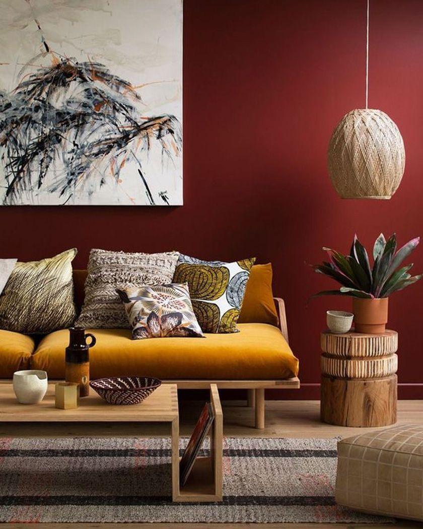 Tapis Salon Couleur Rouille comment utiliser la couleur bordeaux dans la déco du salon
