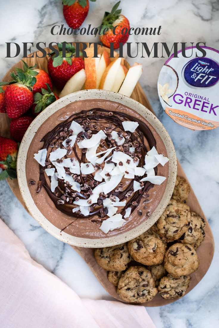 Chocolate Coconut Dessert Hummus is a simple, gluten free twist on savory hummus, great for fruit or cookies. - Nutritious Eats #Dessert #glutenfree #desserthummus