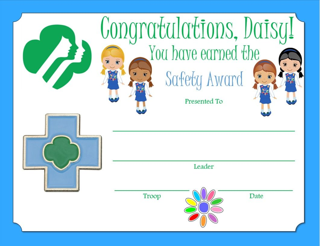 daisy safety award certificate 1 understand what to do if you get