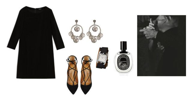"""..."" by tomorrowsparties ❤ liked on Polyvore featuring Max&Co., Yochi, Aquazzura, Diptyque and Hermès"