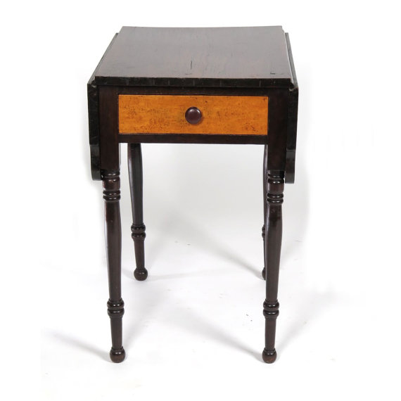 antique side table work stand small drop leaf curly maple 19th c one drawer werd pinterest zip code drawers and apartments - Small Antique Side Tables